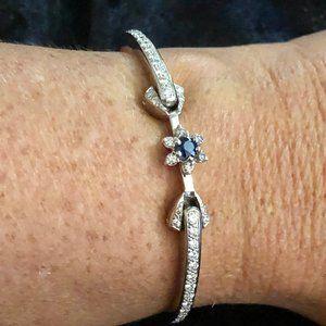 18K White Gold Diamond Sapphire Cuff Bracelet